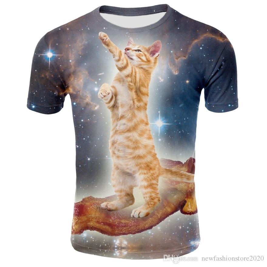 Men T-shirt Unique 3D Digital Cat Printing Men 2019 New Fashion Design Tee  Shirt Man clothing All-matching Multi Pattens Hot Selling