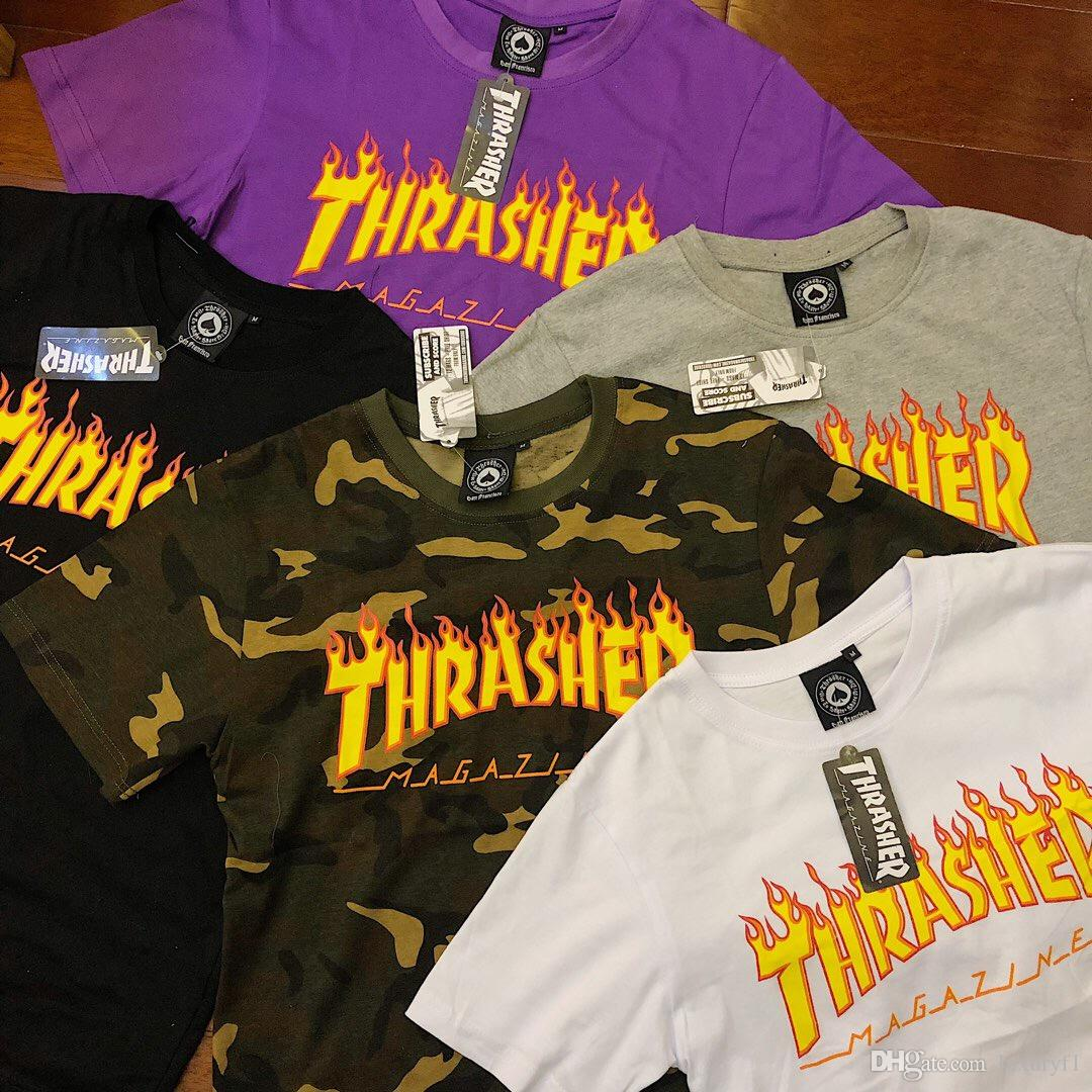 9d13165d1cda Five Colors Fashion THRASHER Over Size Woman Shirts O Neck Short Sleeve  Brand New Couple Tops Tees Pure Cotton Womens Designer T Shirts Funny Ts T  Shirts ...