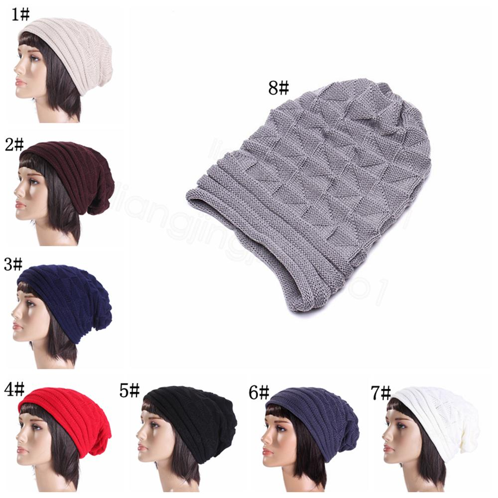 Mens Women Unisex Knit Baggy Beanie Winter Warm Hat Ski Slouchy Chic Knitted Cap
