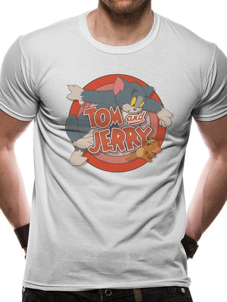 62c06d6e7 Compre Logotipo De Tom And Jerry Oficial Hanna Barbera Cartoon Network  White Camiseta Para Hombre Camiseta De Impresión Camiseta De Manga Corta  Para Hombre ...