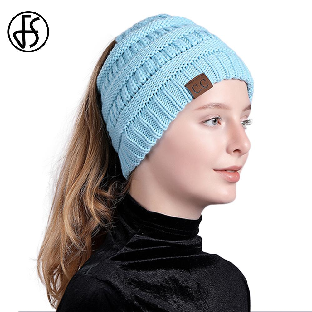 4f3646db5f5c9 FS CC Beanie Cashmere Messy Bun Beanies Knitted Stylish Winter Hat For  Women Warm Hip Hop Ski Caps Female Ladies Fashion 2018 Canada 2019 From  Huteng