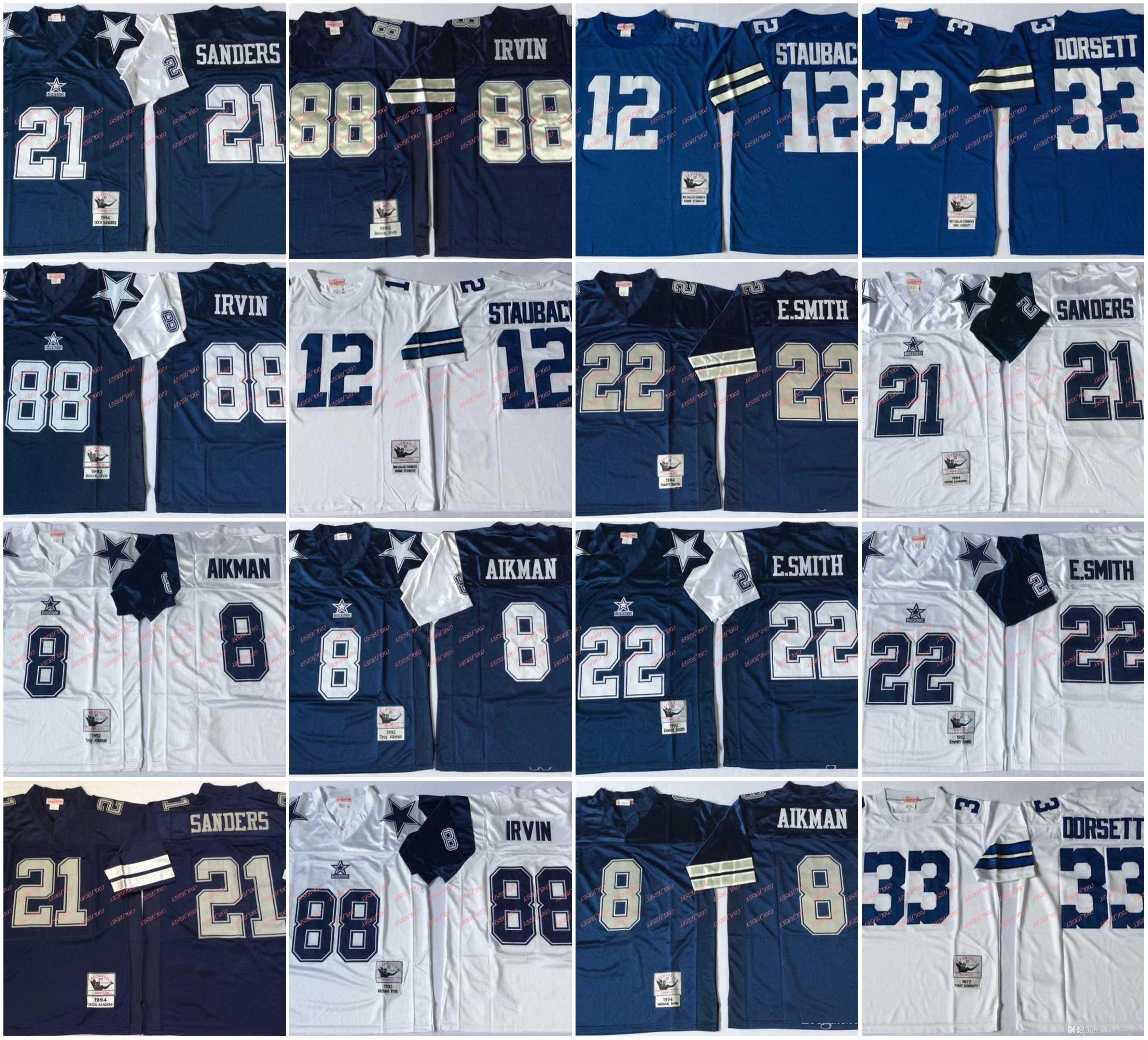 07c60f9d3c6 8 Troy Aikman Vintage Jersey 21 Deion Sanders 12 Roger Staubach 22 ...