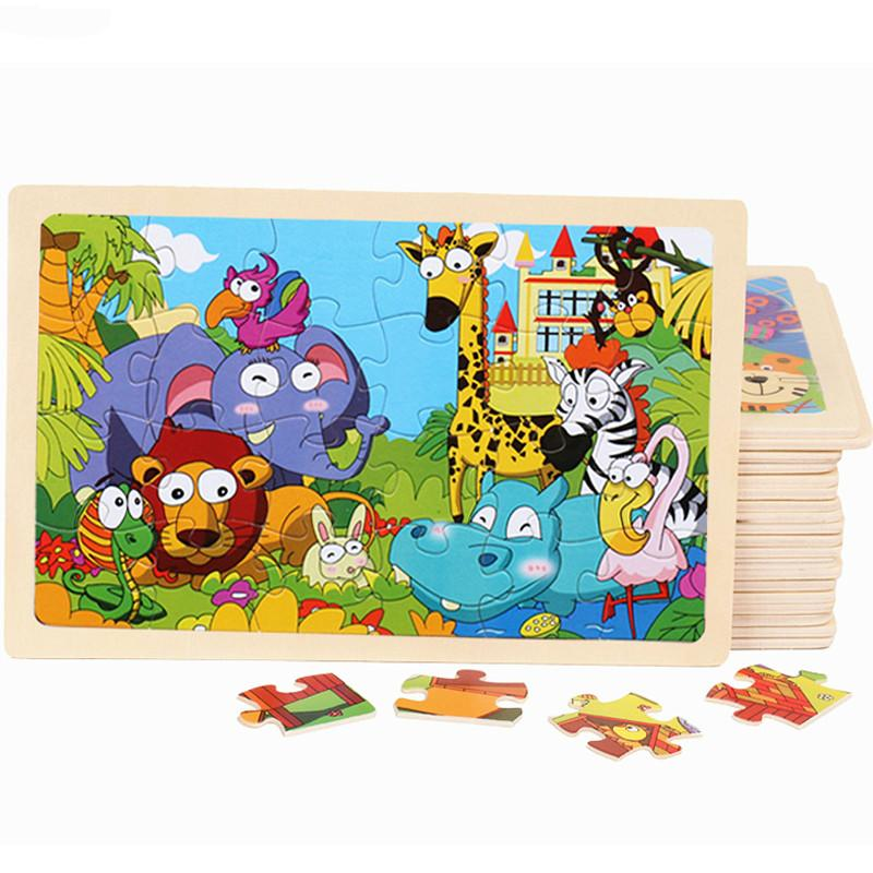 Baby Cartoon Animal/Traffic Puzzles Educational Toy Young Children Early Lessons Learned Intelligence Cartoon Animal Puzzle Wooden Toys