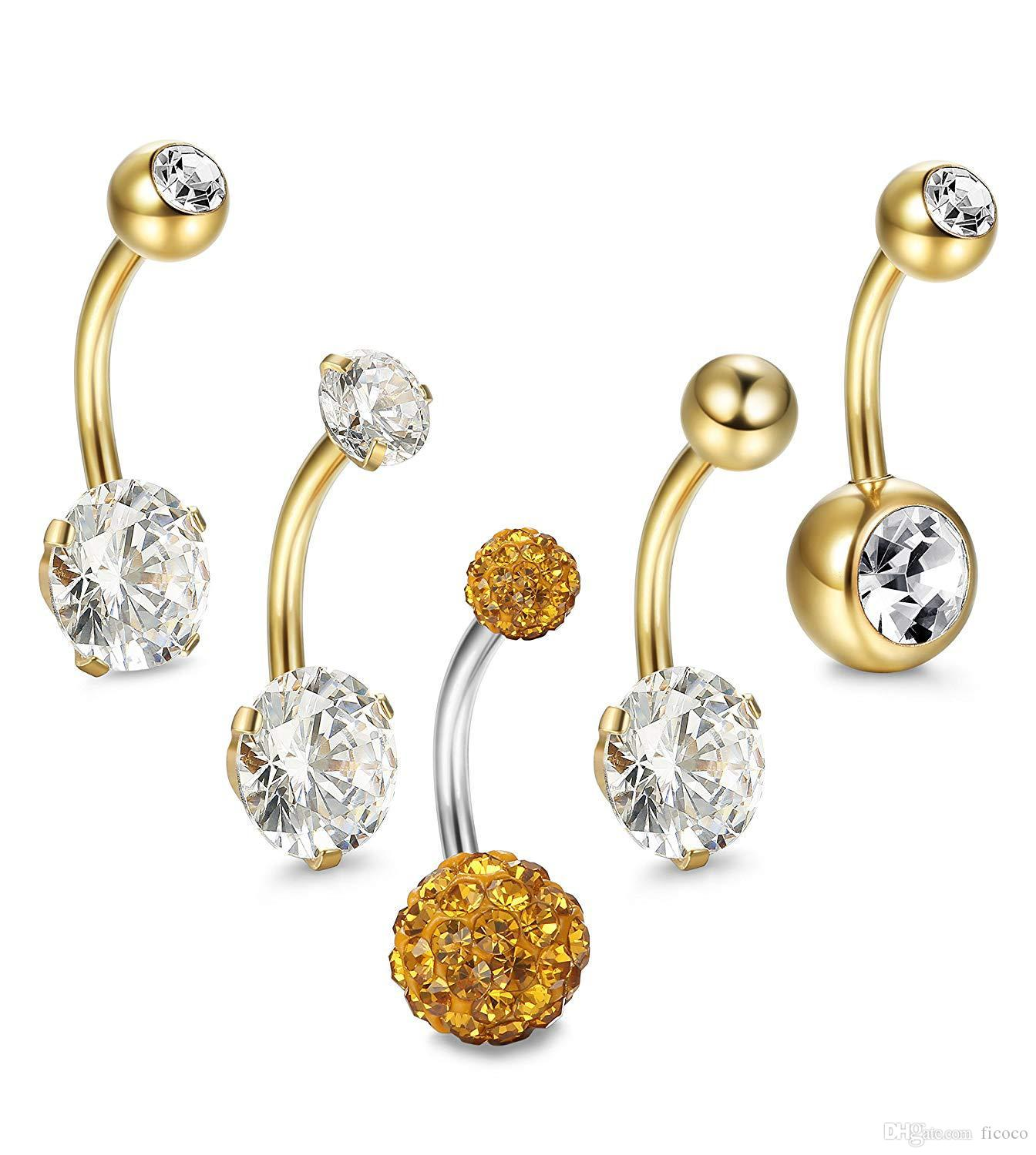 Wholesale 5pcs Set 3 Colors Cz 316l Stainless Steel Jewelry Navel Bars Silver Belly Button Ring Navel Body Piercing Jewelry