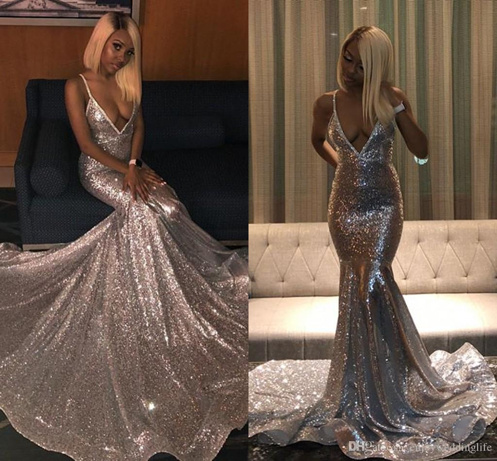 60f1d4ff145 Long Silver Sequin Low V Neck Prom Dress - Data Dynamic AG