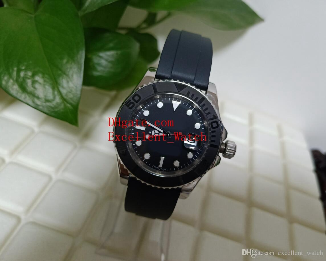 Hot buy Mens Watches 40 mm 116655 126655 Ceramic Bezel Black Dial Asia 2813 Movement Automatic Rubber Strap Watches Christmas gift