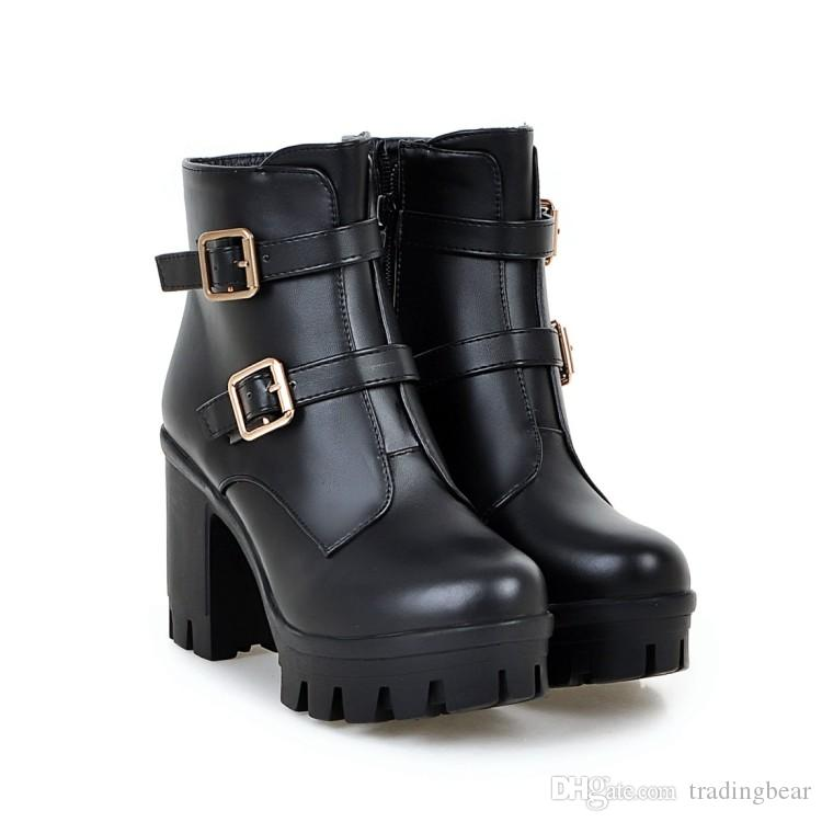 Big small size 33 34 to 40 41 42 43 Luxury Designer Women Boots White Black Buckle Chunky Heels Motocyle Booties Come With Box