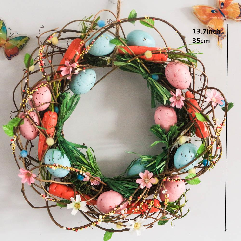 Home & Garden Christmas New Wreath Spring Easter Party Decoration Door Winder Decorations Flowers Eggs Rattan Wreath Wall Craft Ornaments Home Decor