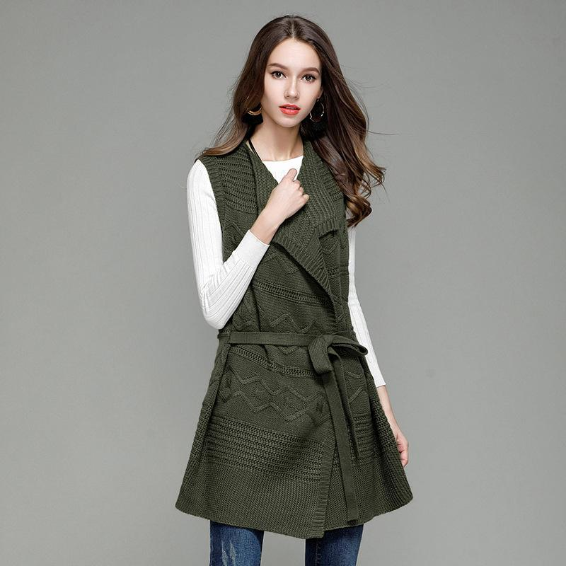 a74ef3881 Fall Winter Vintage Knitted Middle Long Sleeveless Cardigan Vest for Women  Cute Ladies Cable Knit Lace Up Sweater Coat Oversized