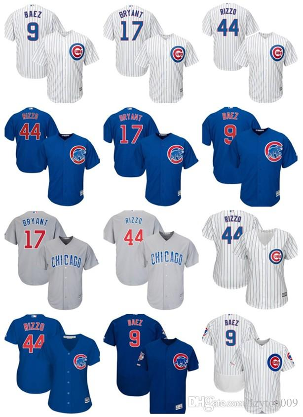 new style 559d9 8f38a Cubs Baseball Jersey 44 Anthony Rizzo 17 Kris Bryant 9 Javier Baez 12 Kyle  Schwarber 49 22 Heyward 23 Ryne Sandberg Football Youth Jerseys