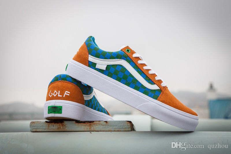 c5ed73fc2132a2 Best Quality VANES OLD SKOOL PRO S GOLF WANG ODD FUTURE ORANGE BLUE GREEN  VN000ZD4J7S NEW Running Shoes Sneakers With Original Box Loafers For Women  Deck ...