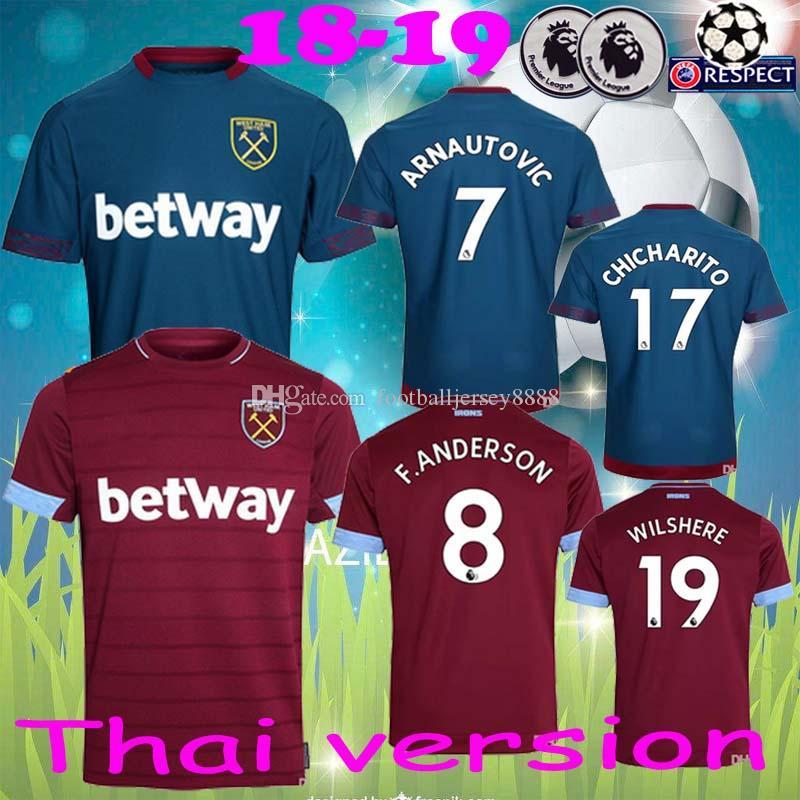 66c72e0f7be51 Nuevo 2018 19 West Ham Jersey ANDERSON ARNAUTOVIC DIOP YARMOLENKO WILSHERE  West Ham United Camiseta Local Y Lejos Alta Calidad De Tailandia Top AAA  Por ...