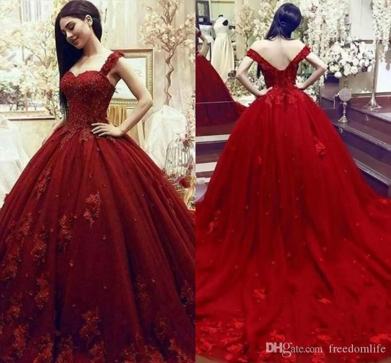 aeb26e34a94 Gorgeous Dark Red Quinceanera Dresses Sweetheart Off The Shoulder Appliques  Beaded Tulle Prom Dress Backless Evening Dress Party Wear Pretty 15 Dresses  ...