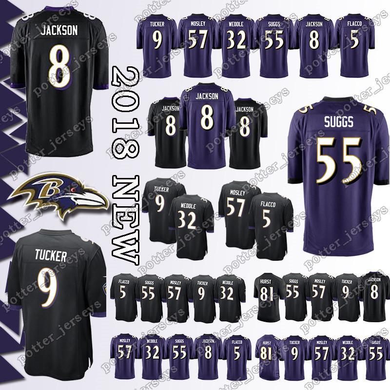 lowest price 5b085 afcf8 Baltimore Raven Jersey 8 Lamar Jackson 81 Hayden Hurst 57 C.J. Mosley 32  Eric Weddle 32 Eric Weddle 5 Joe Flacco 9 Justin Tucker Jerseys TOP