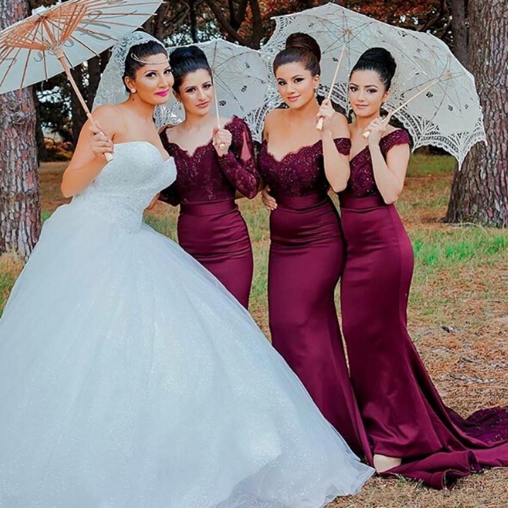 Sexy Long Burgundy Lace Bridesmaid Dresses Mermaid Off The Shoulder Appliques Plus Size Bridesmaids Gown Cheap Wedding Party Dress