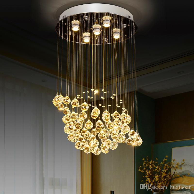 globe shape Crystal Chandelier Round Crystal Lamp Modern Crystal Light Fixture Hanging Lustres Luminaire Home Lamps 110-220V