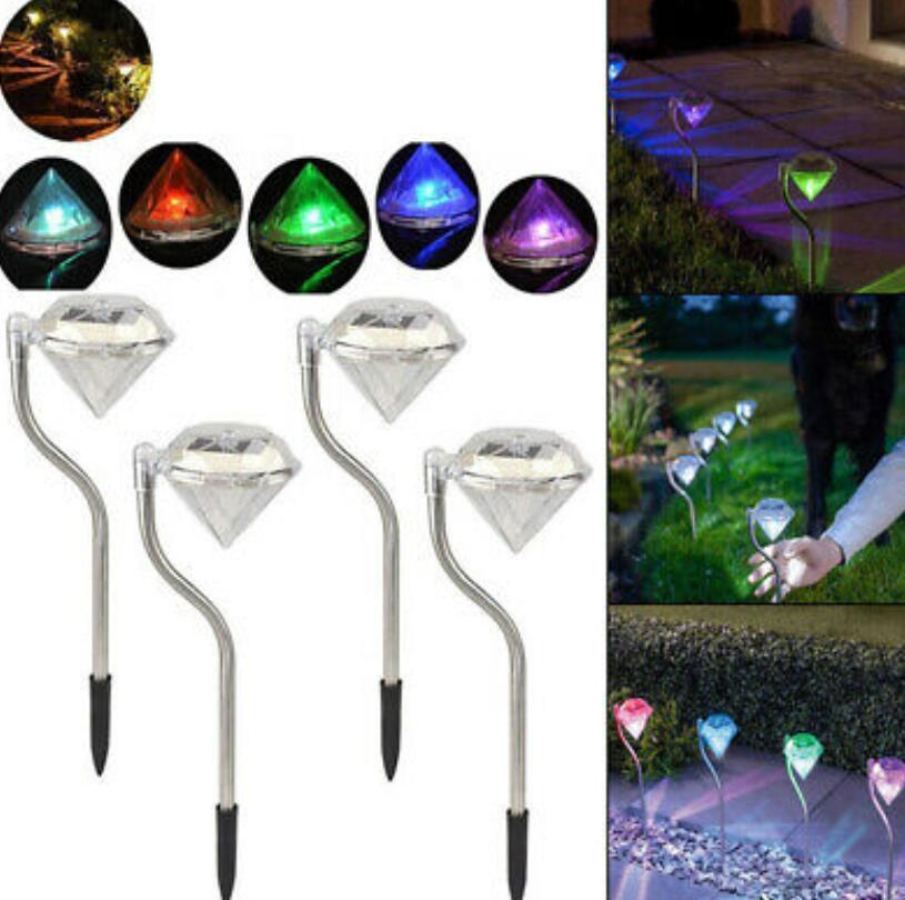 Solar Power Garden Lights Diamond Shape waterproof Pathway Lawn Landscape Pathway Night Lamps Lawn Light LJJK1531