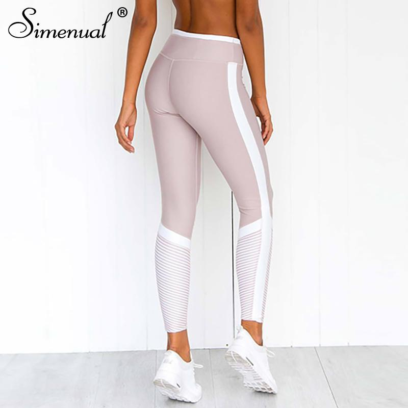 ee168ddf27f06 2019 Simenual Side Striped Leggings Fitness High Waist Active Wear  Patchwork Push Up Athleisure Legging Women Pink Bodybuilding 2019 From  Xiatian4, ...