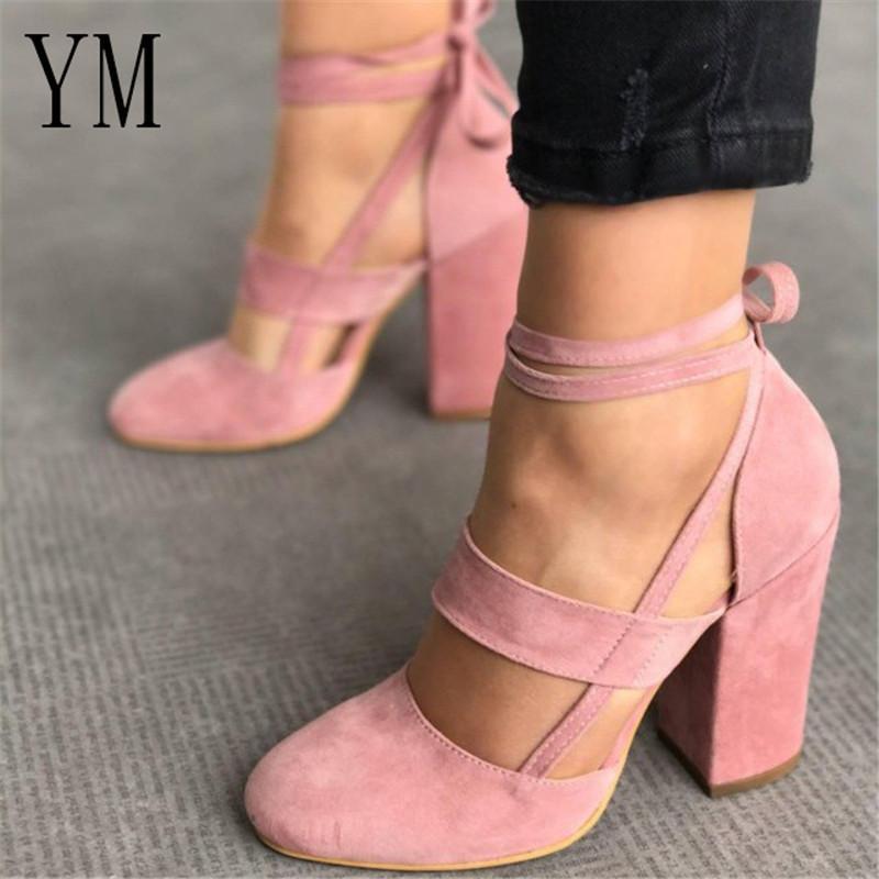 Designer Dress Shoes 2019 Hot Sexy Female Ankle Strap Women High Heels  Flock Gladiator Rome Fashion Women Dress Wedding Pumps Plus 34 43 High Heel  Shoes ... 11147753d31d
