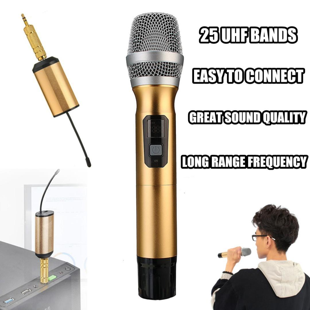gold professional wireless microphone speaker handheld microphone karaoke music player singing. Black Bedroom Furniture Sets. Home Design Ideas