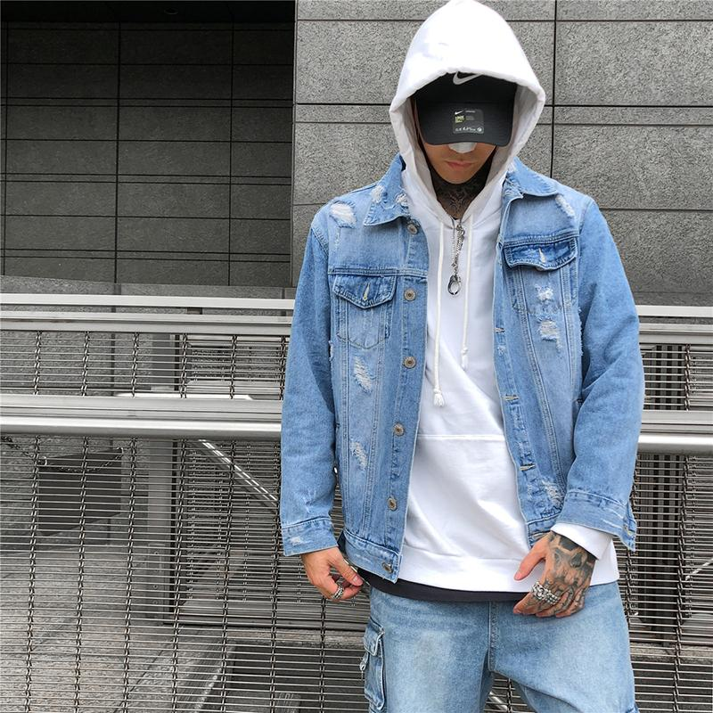Original Denim Washed Hole Plus Size Coats New Mens Jackets and Coats Chaqueta Hombre Hip Hop Cotton Streetwear Windbreakers