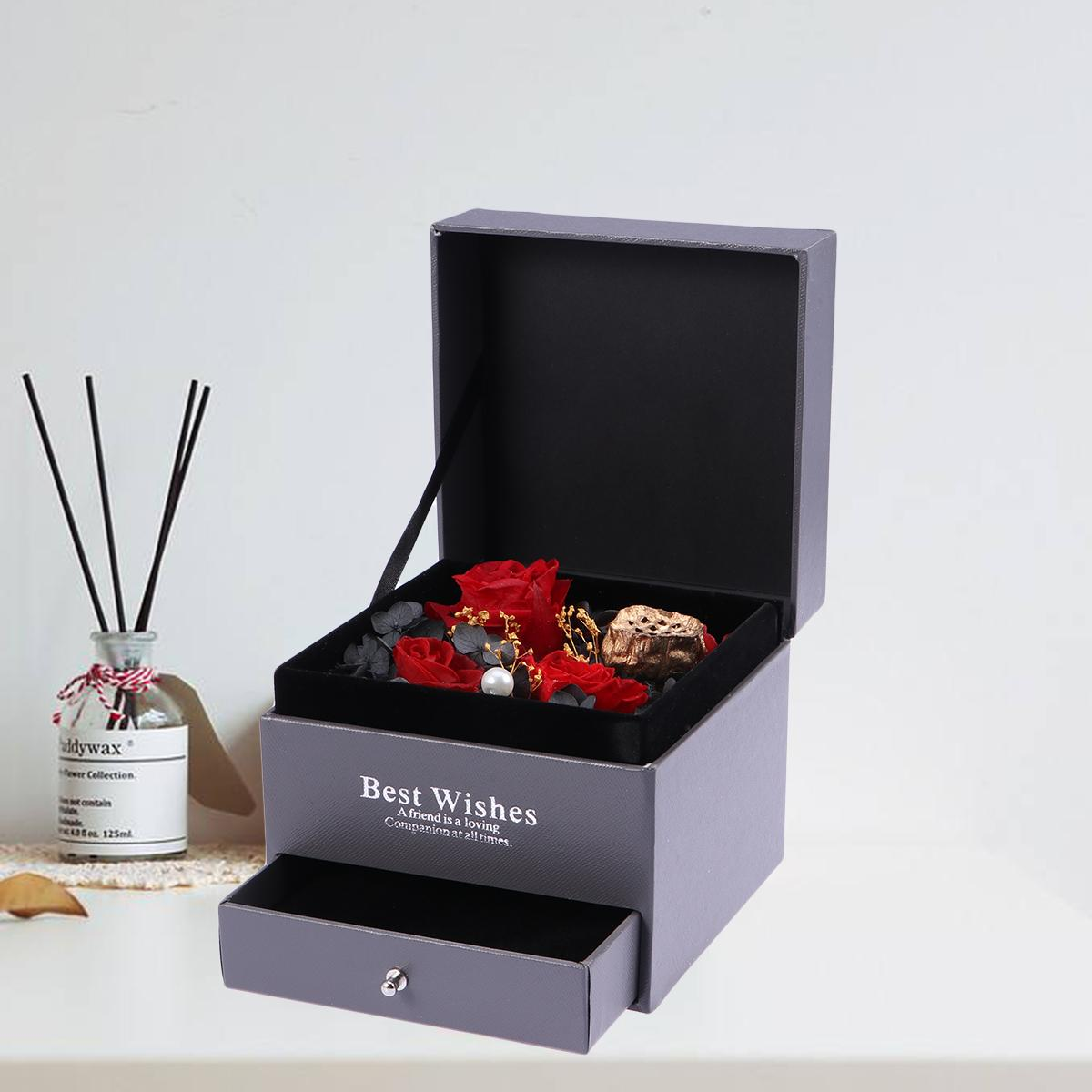 Handmade Preserved Flower Eternity Rose Never Withered Rose for Valentine's Day Mother's Day' Birthday with Drawer Gift Box