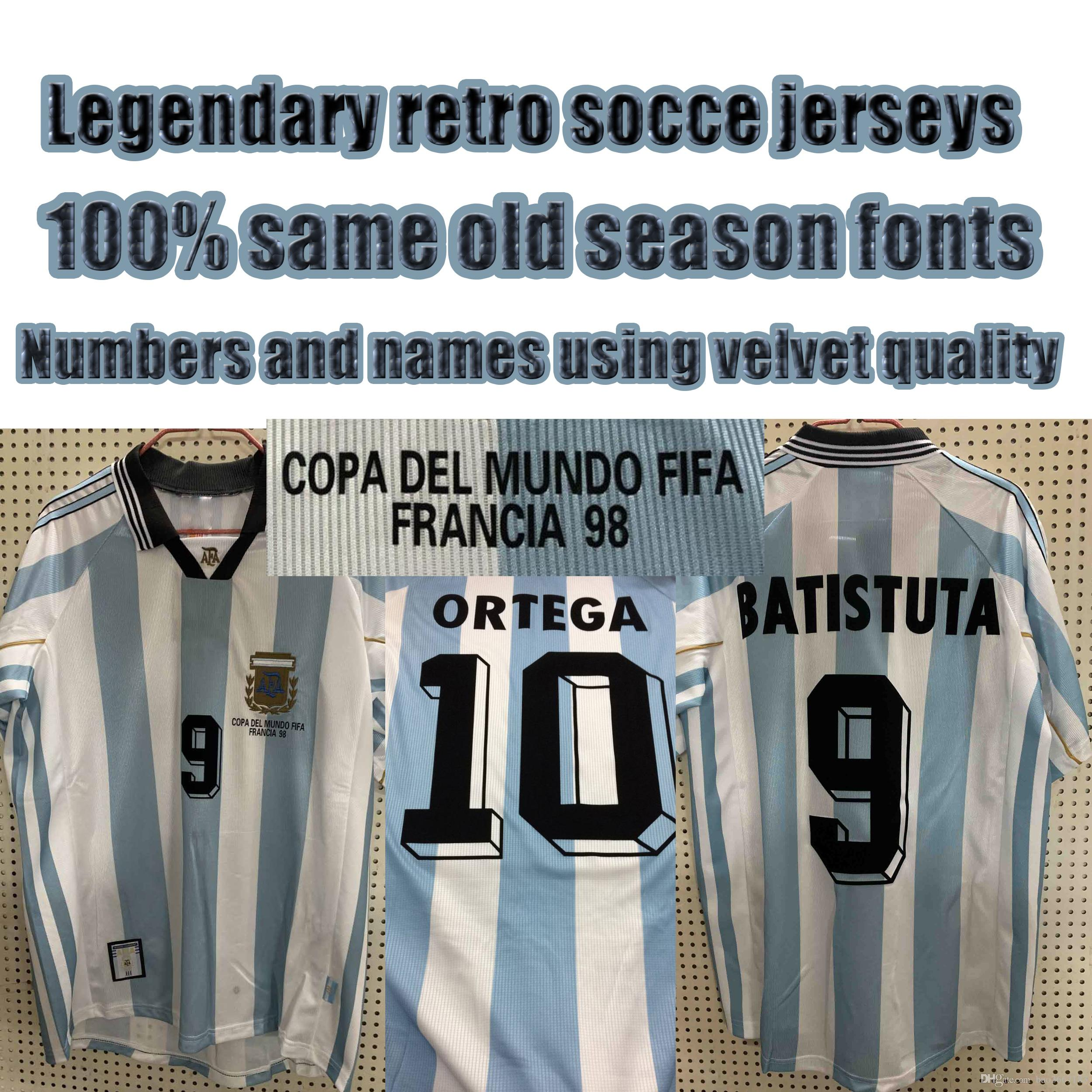 1998 World cup Retro Argentina Home Soccer jerseys BATISTUTA ORTEGA VERON MESSI Maradona legendary retro Argentina home Football shirts