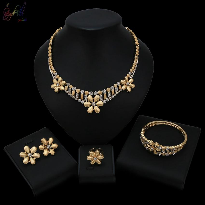 Yulaili Sweet Flower 2019 Latest Design For Women Wedding Gold Color Plated Necklace Bracelet Earrings Ring Jewelry Sets