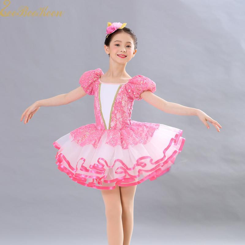 cc1b3863ff 2019 Girl Pink Tutu Ballet Dress Princess Dress Professional Ballet Costume  Women Short/Long Sleeve Sequins Dance For Children From Redbud01, ...