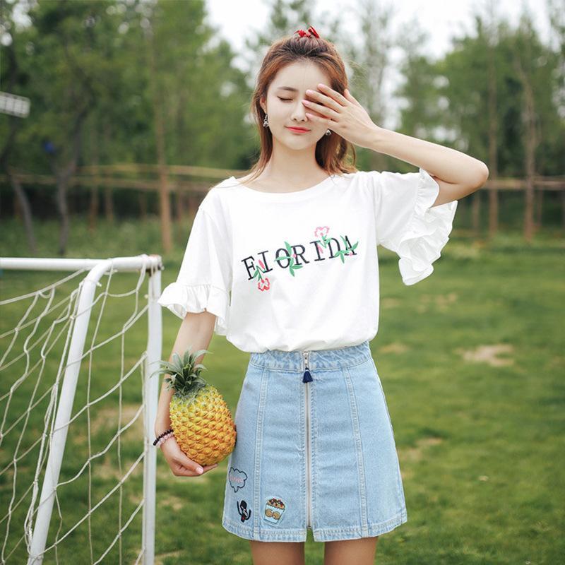 78019b52 Embroidery 2018 Early Summer New Korean Women's Petal Short-sleeved ...