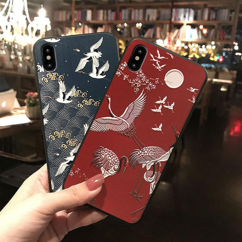 Applicable to iphone8 mobile phone shell embossed matte x21 mobile phone  shell red bottom white crane oppo r15 mobile phone accessories