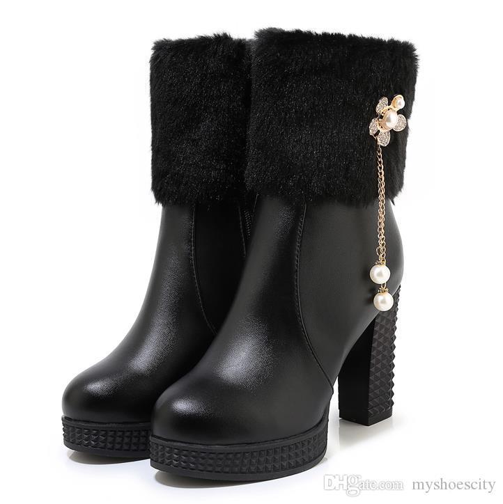 büyük beden 34-43 güzel sıcak beyaz kürk çizmeler platformu yüksek topuklu ayak bileği patik lüks kadın tasarımcı çizmeler