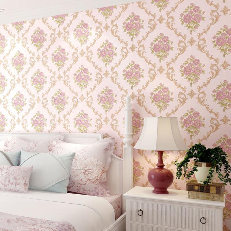 26599559a7031 Europe Large Floral Wallpaper 3d Embossed Damascus Wallpapers Roll Sweet  Bedroom Wall Paper Flowers Murals Papel Tapiz Qz057