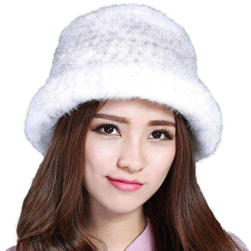 Women Real Bucket Hats Hand-Woven Lady's Winter Warm Cap Fluffy Soft Thicken Elastic
