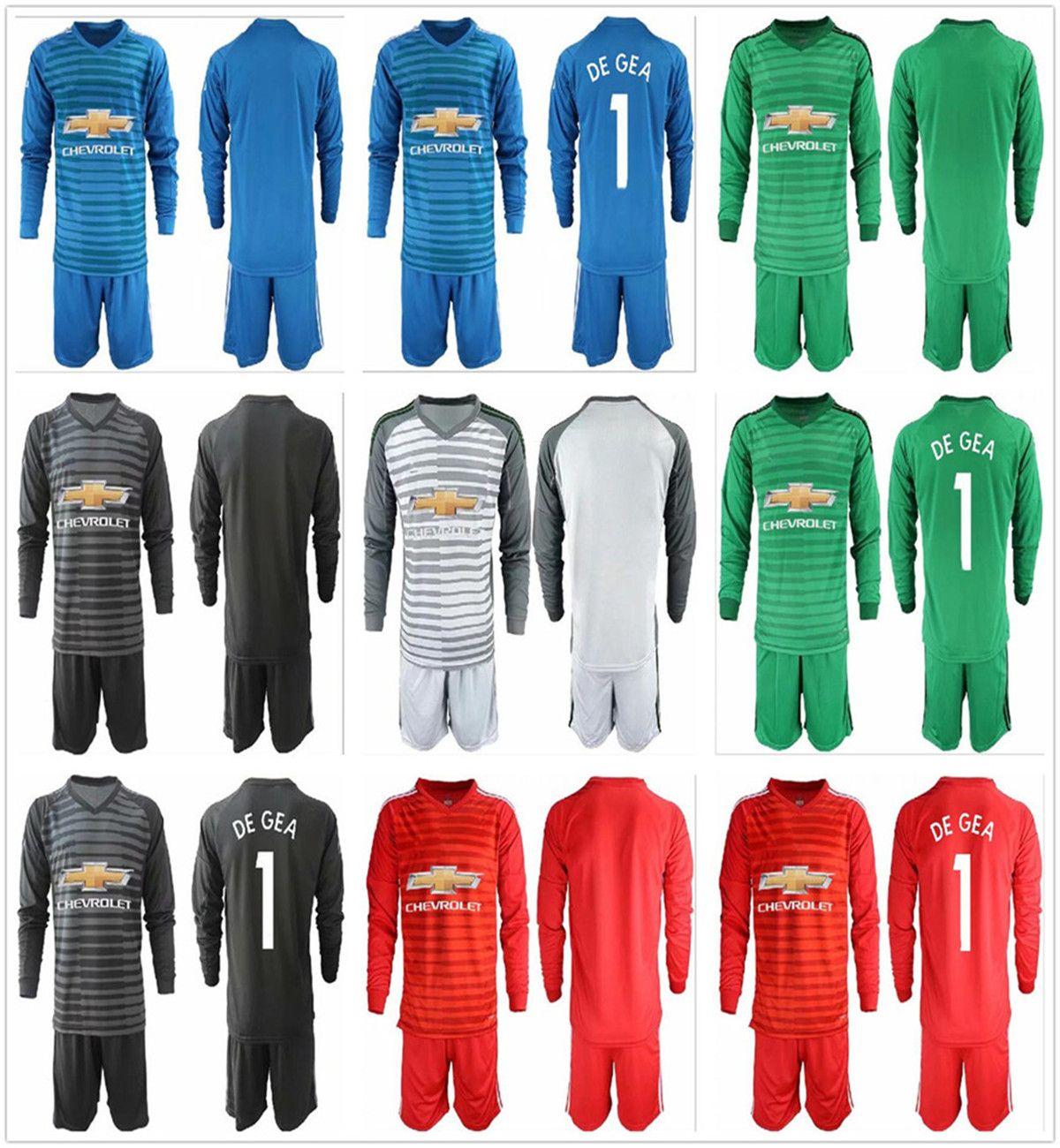 new concept 6e951 8498c 2018 2019 Men Long Goalkeeper Adults Kit Goalkeeper Soccer Sets #1 David De  Gea 22 S.Romero Goalie Adult Full Football Jersey Uniform Set