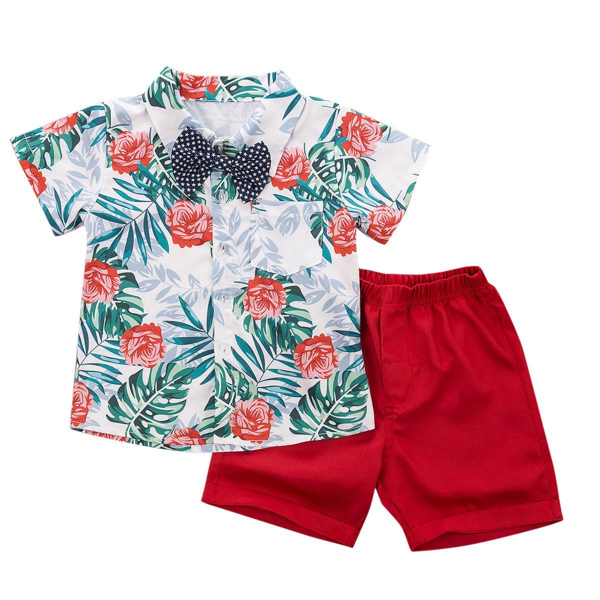 1-7Y-Kleinkind-Baby-Kleidung Gentleman Anzug Bow Outfits beiläufige Strand-Blatt-Blumen-Shirt, Shorts, Sommer-Jungen Kostüme Sets