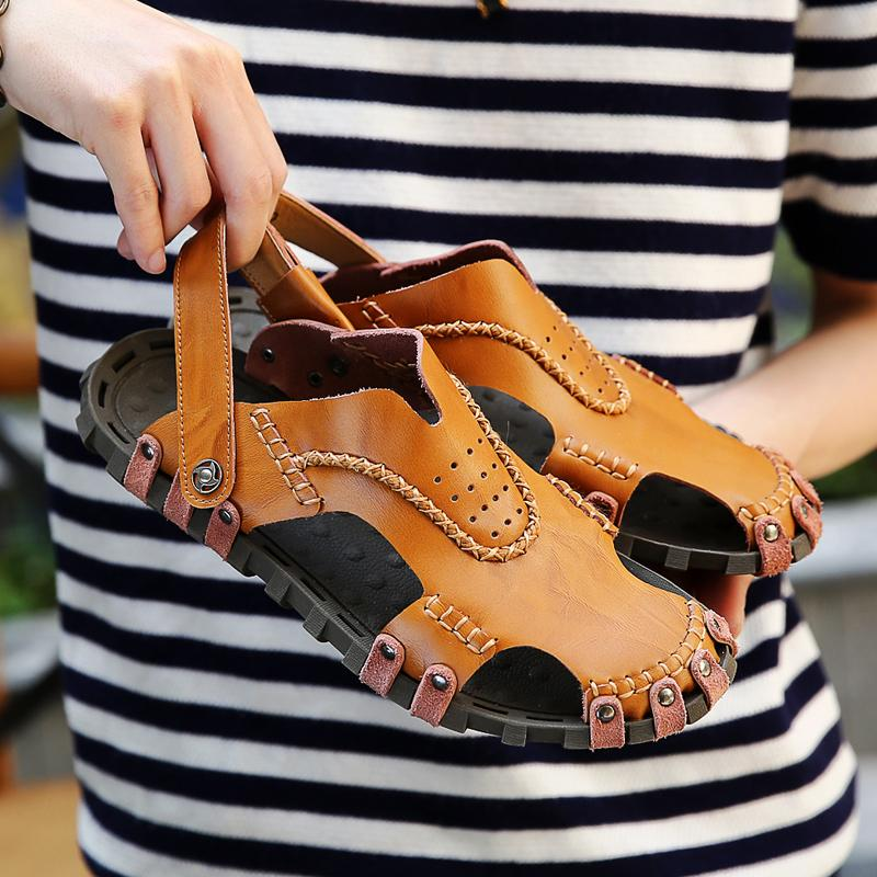 New 2019 Men Soft Sandals Comfortable Summer Shoes Leather Sandals