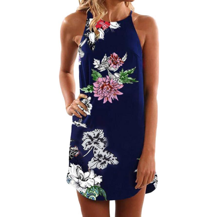 78a9528ae8 Women Summer Dress Sleeveless Floral Print Bohemian Mini Dresses Fashion  Halter Shift Dress Kleider Damen  BF Purple Floral Maxi Dress Black Dress  Womens ...