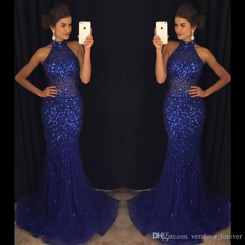 Glitz Bling Royal Blue Sequined Evening Dresses 2019 Mermaid Halter Neck Long African Party Gowns Prom Dresses