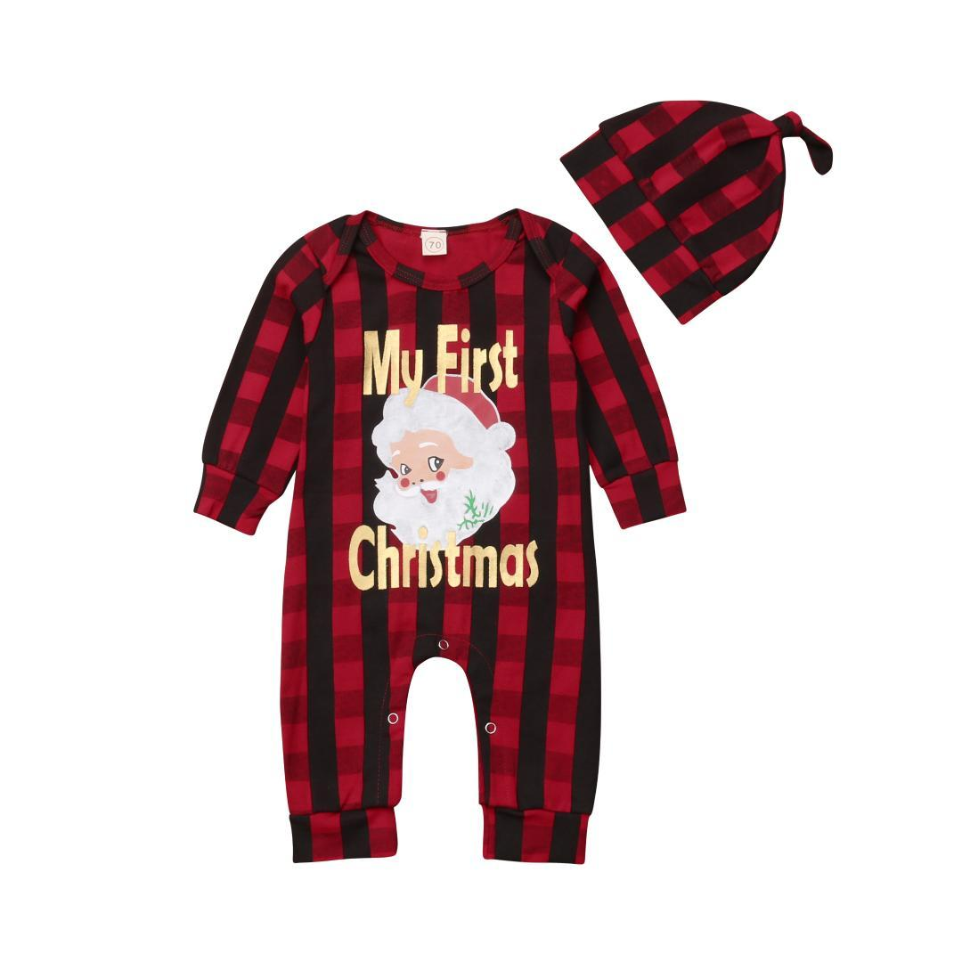 Christmas Newborn Infant Baby Boy Girl Rompers + Hat Cartoon Santa Claus Red Plaid Long Sleeve Jumpsuit Playsuit