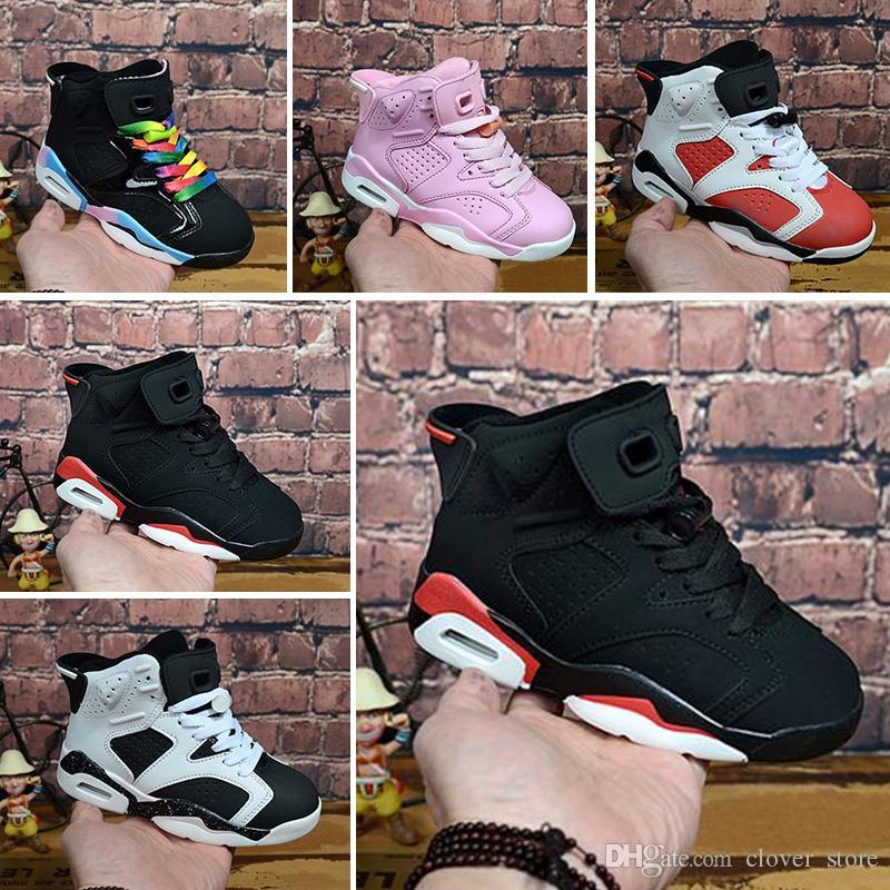 magasin d'usine 35e8a e0bb7 Nike air max jordan 6 retro 2017 Nouvelle arrivée 6s UNC Enfants Chaussures  de Basketball noir et bleu de haute qualité 6s Hommes Enfants sport ...
