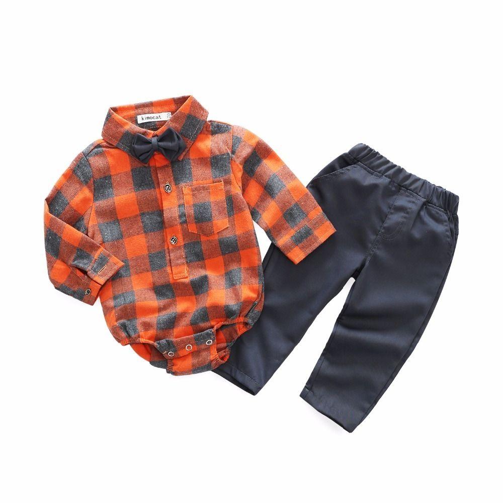 45806b6376bb 2019 Newborn Boy Plaid Clothes Suit Gentleman Fashion Rompers Baby ...