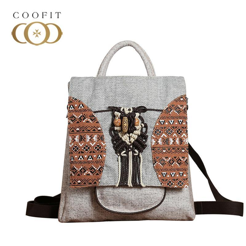 coofit Vintage National Stylish Backpack For Women Canvas Cute Owl Mini Backpack Large Capacity School With Cell Phone