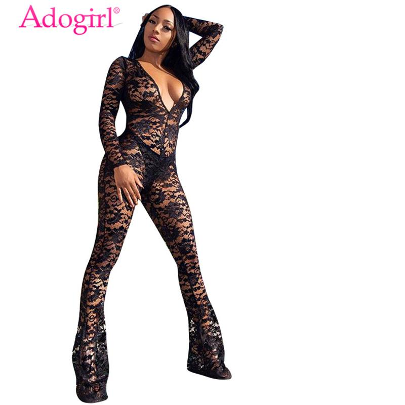 Adogirl Women Sheer Lace Jumpsuit Sexy Plunge V Neck Long Sleeve Romper Boot Cut Overalls Flare Pants Club Costumes Outfits