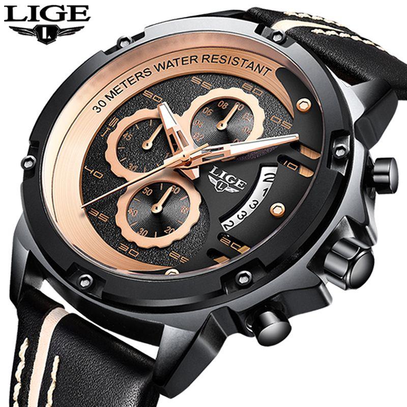8a3e8c8f23aa Compre 2019 Relojes Para Hombre LIGE Mejores Marcas Hombres De Lujo ...