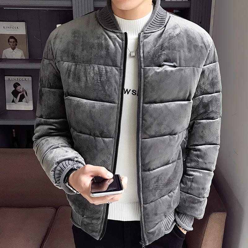 2018 New Fashion Men's Winter Boutique Gold Velvet Cotton Coat Jacket Cotton Jacket Slim Zip Top Blouse