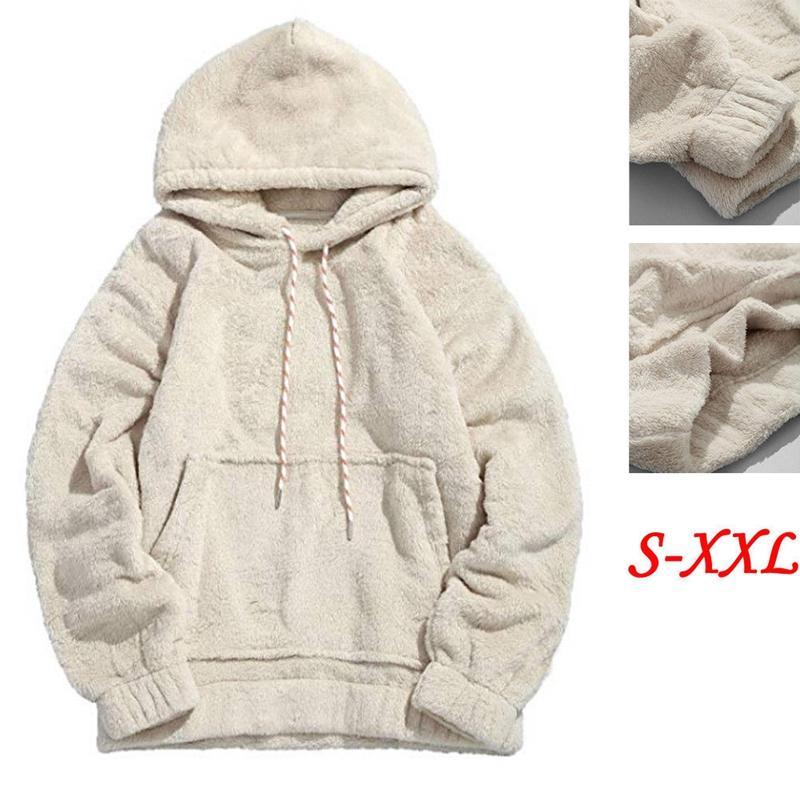 2018 Winter Warm Men Teddybär Fleece Plain Mit Kapuze Sweatshirt Langarm Lässige Übergroße Hoodies Pullover Tops S-2XL