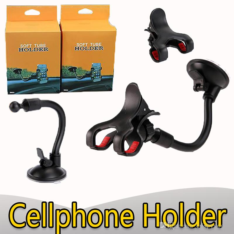 360 rotation windshield car holder bracket 20cm long arm universale cellphone holder flexible with chuck buckle support smart phone mount