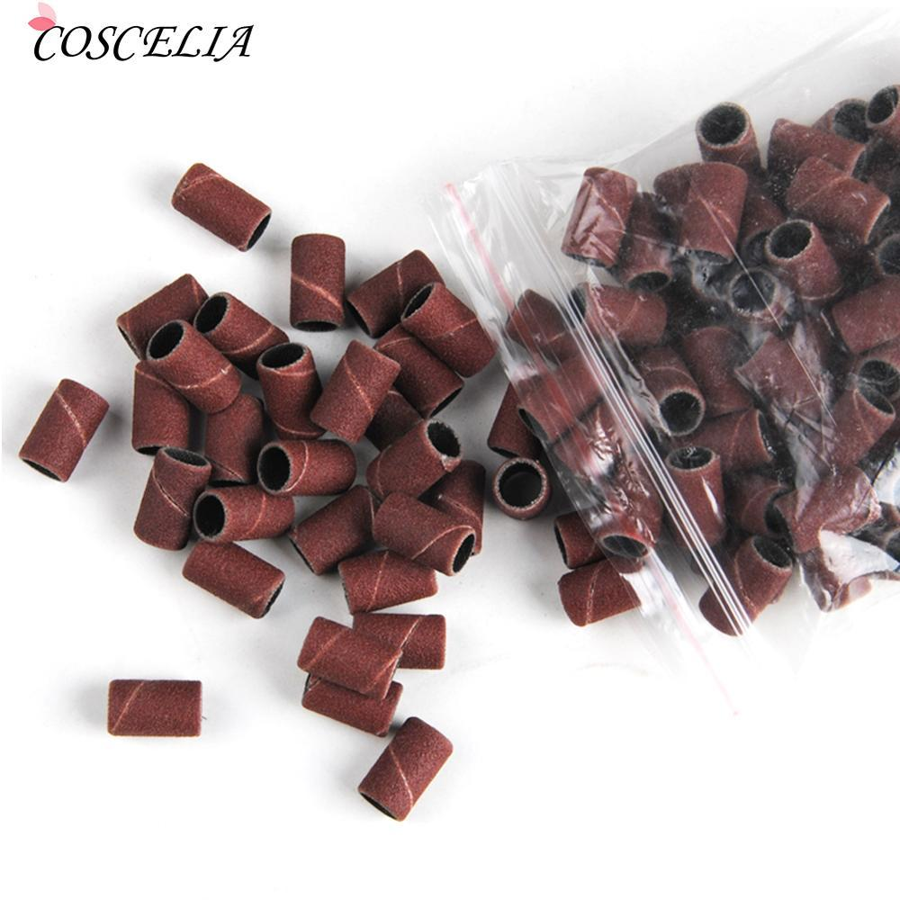 sanding bands COSCELIA100Pcs #180 Sanding Bands Manicure Pedicure Nail Electric Drill Machine Grinding Sand Ring Bit