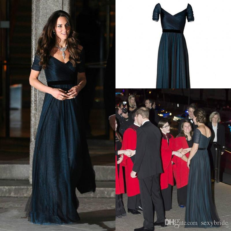 eb5823dfd30f8 Jenny Packham Kate Middleton Navy Blue Evening Formal Dresses Long Backless  A Line Tulle Short Sleeve Celebrity Prom Gowns Red Carpet Dress